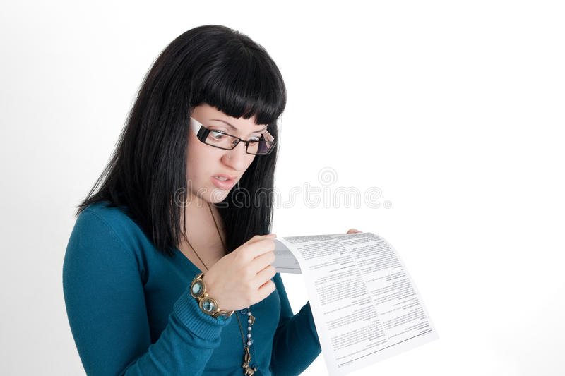 Surprised While Reading The Small Print Royalty Free Stock Photography