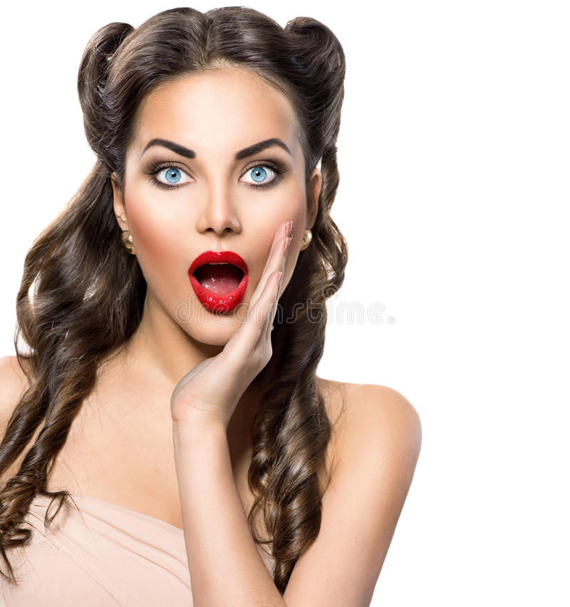 Surprised retro woman. Beauty vintage excited girl over white royalty free stock images
