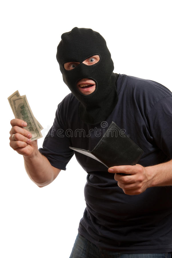 Download Surprised Robber Takes Money From Stolen Wallet. Stock Photo - Image: 9576778