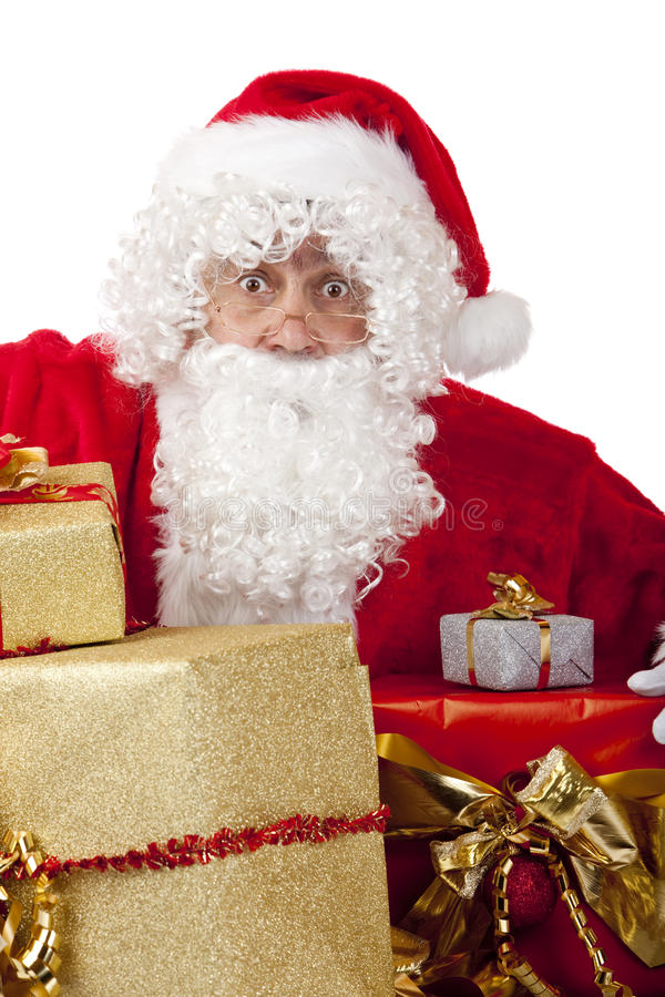 Download Surprised Santa Claus With Christmas Gifts Royalty Free Stock Image - Image: 12156906