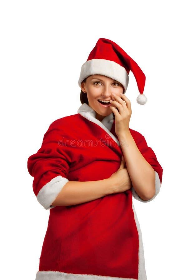 Surprised Santa helper stock photo