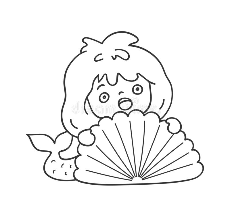 Surprised scared mermaid hiding behind a sea shell. Cute cartoon character for emoji, sticker, pin, patch, badge. stock photography