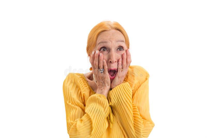 Surprised senior lady isolated. royalty free stock photo