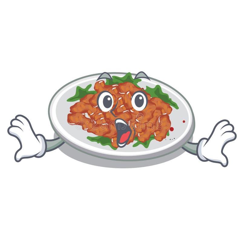 Surprised sesame chicken in a cartoon bowl. Vector illustration vector illustration