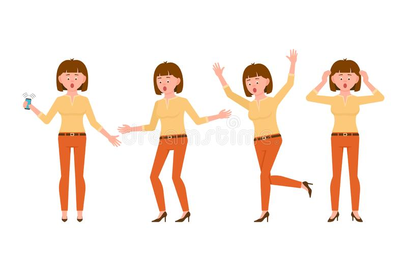 Surprised, shocked, amazed, brown hair young woman in orange pants vector illustration. Stressed, worry, scared girl character stock illustration
