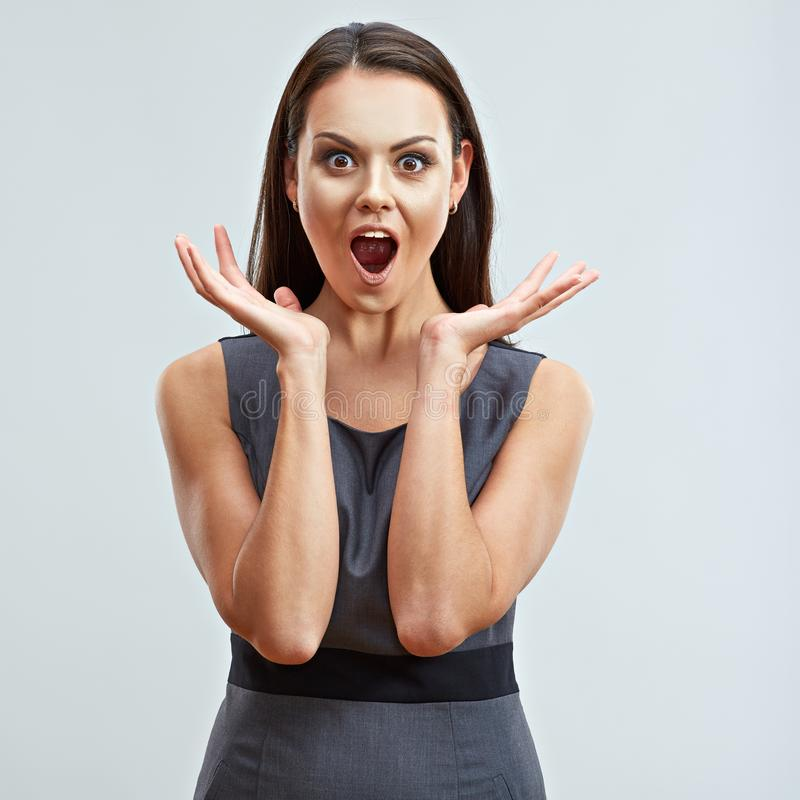 Surprised shocked business woman portrait. Model with long hai royalty free stock images