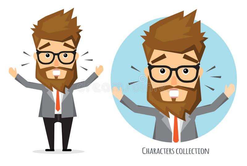 Surprised shocked businessman. Hipster businessman with beard stock illustration