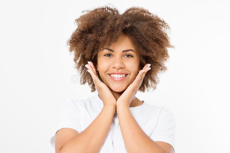 Surprised shocked excited african american woman face isolated on white background. Young afro curly hair style girl stock photography