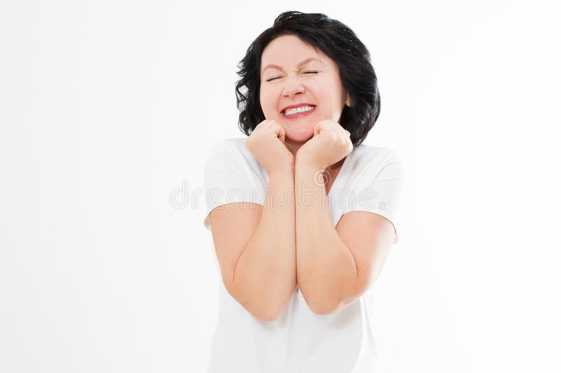 Surprised shocked excited asian middle age woman wrinkle face isolated on white background. White teeth and senior dental medicine royalty free stock photo
