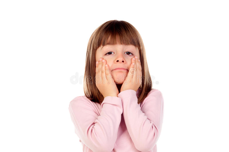 Surprised small girl making gestures stock images
