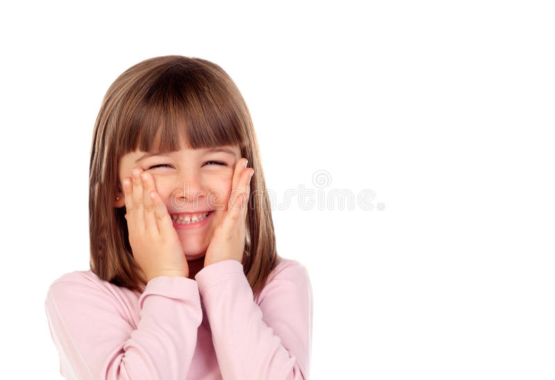 Surprised small girl making gestures stock photo