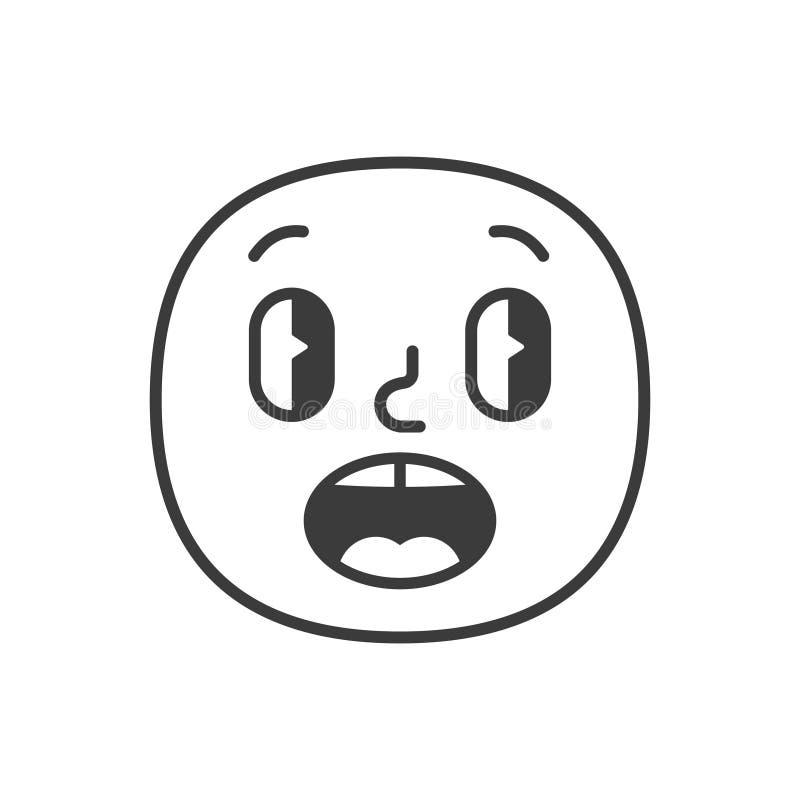 Surprised smile fase black and white emoji. Vector eps 10 royalty free illustration