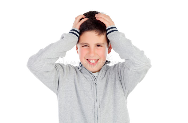 Surprised teenage boy of thirteen stock photos