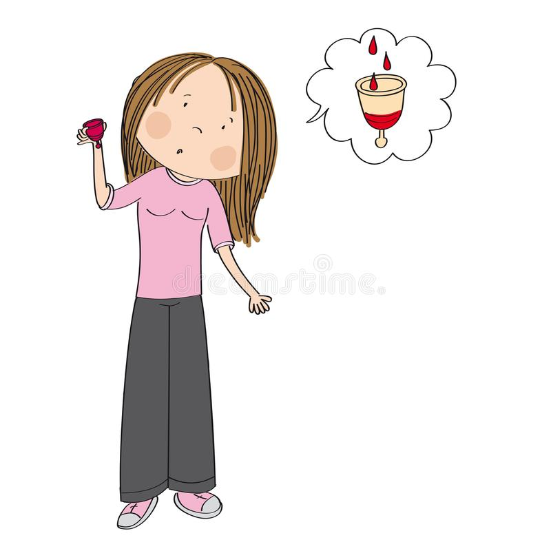 Surprised teenage girl or young woman holding menstrual cup. Surprised teenage girl or young woman standing and holding menstrual cup wondering how it collets vector illustration