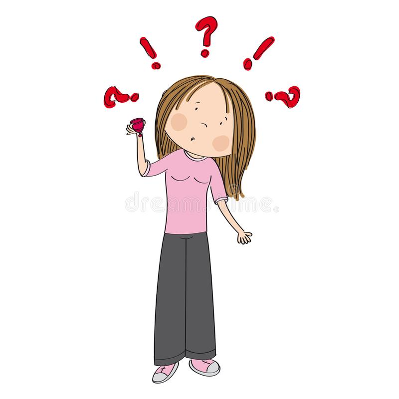 Surprised teenage girl or young woman holding menstrual cup. Surprised teenage girl or young woman standing and holding menstrual cup wondering how to use it stock illustration
