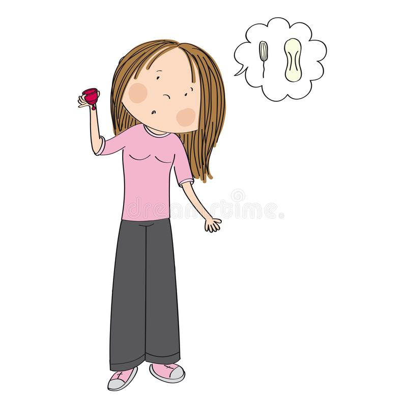 Surprised teenage girl or young woman holding menstrual cup. Surprised teenage girl or young woman standing and holding menstrual cup wondering whether it is vector illustration