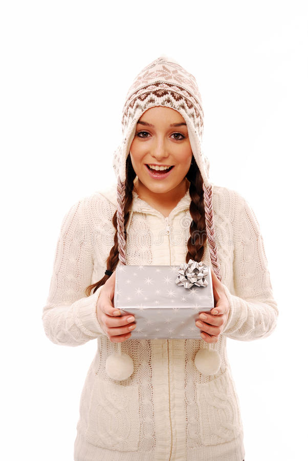 Download Surprised Teenager Holding Christmas Present Stock Image - Image: 12015065
