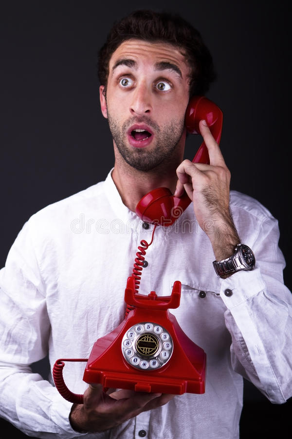Download A surprised telephoneman stock photo. Image of depression - 31684522