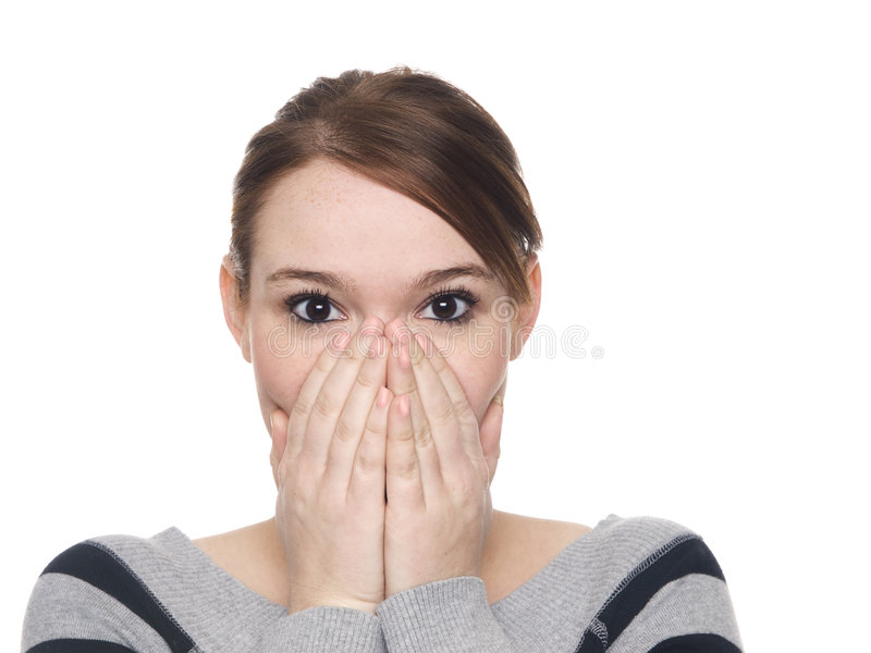 Download Surprised woman stock image. Image of blue, mouth, brown - 7441719