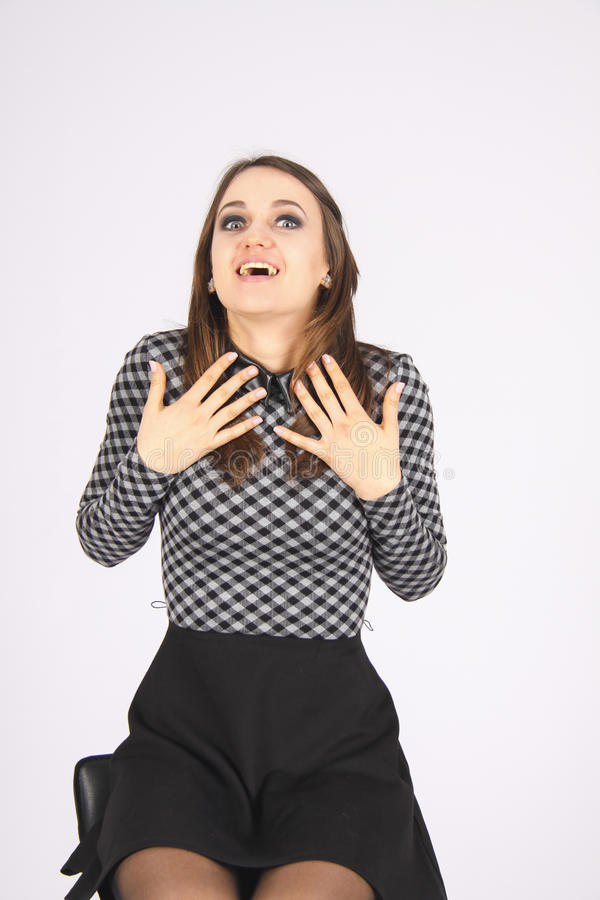 SURPRISED WOMAN can`t believe her luck royalty free stock photo