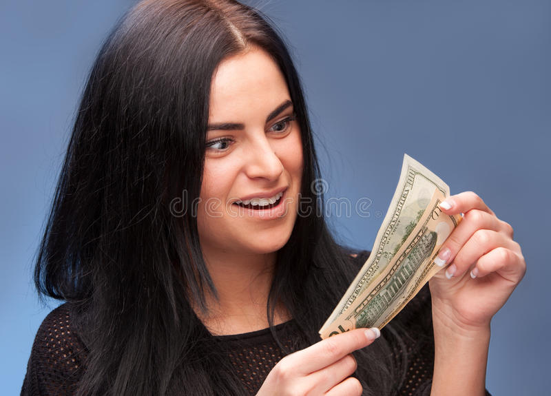 Download Surprised Woman With Dollar Bills Stock Photo - Image: 28897580