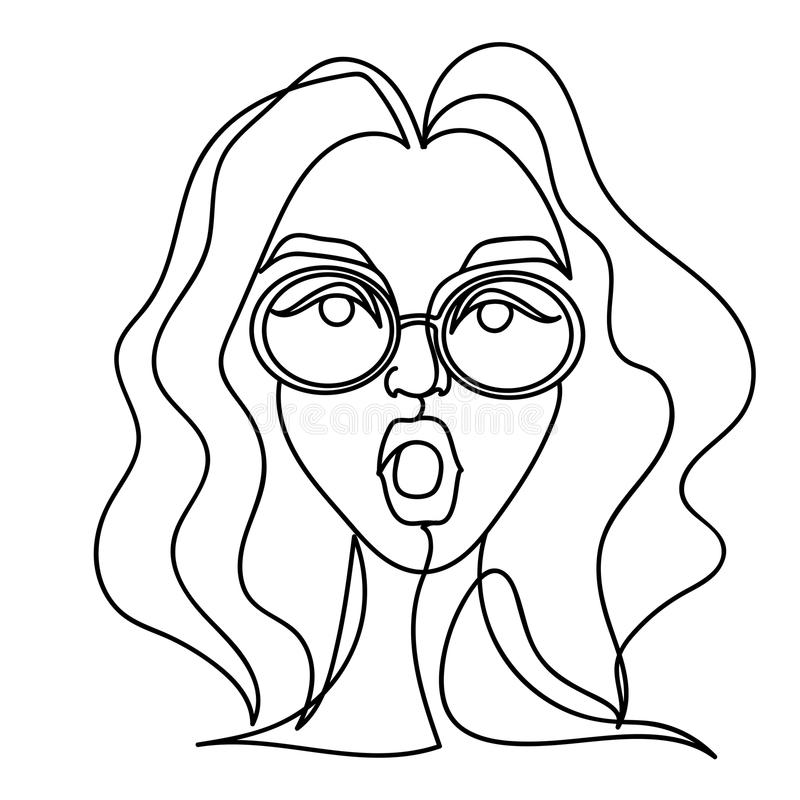 Surprised Woman in Eyeglasses One Line Art Portrait. Shocked Female Facial Expression Hand Drawn Linear Woman Silhouette stock illustration