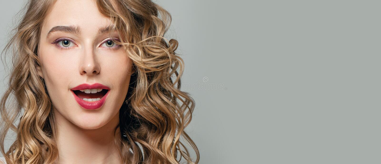 Surprised Woman Face Close Up Portrait On Gray Banner Background Stock Photo Image Of Girl Hair 178866518