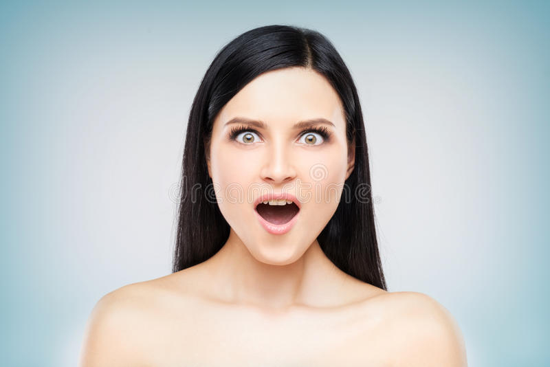 Surprised woman headshot royalty free stock images