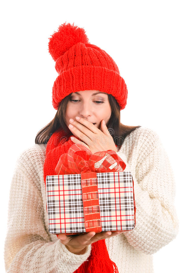 Download Surprised Woman Holding Gift Stock Photo - Image: 11021004