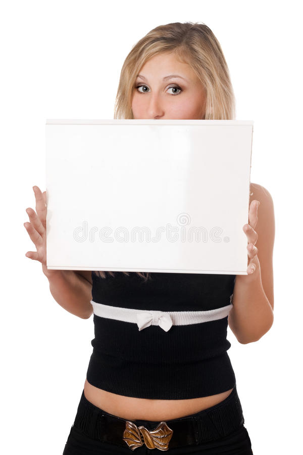 Download Surprised Woman Holding White Board Stock Image - Image: 18807031