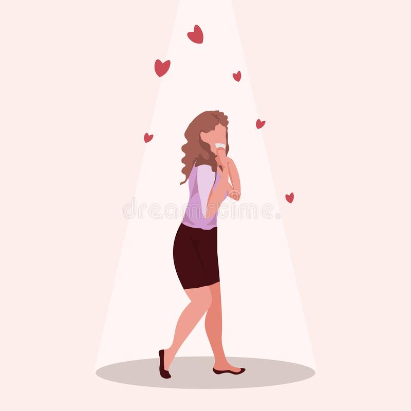 Surprised woman holds cheeks by hand happy valentines day holiday celebration concept beautiful girl over red heart royalty free illustration
