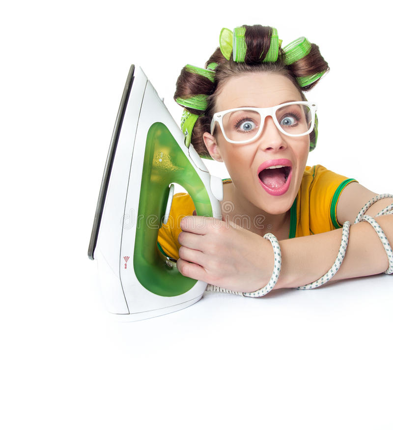 Surprised woman or housewife stock photo