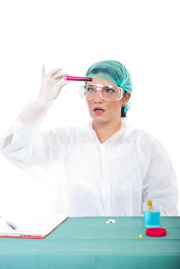 Surprised woman in laboratory stock image