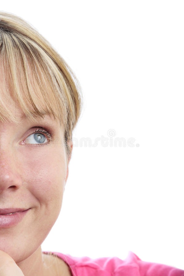Surprised Woman Looking Up royalty free stock photography