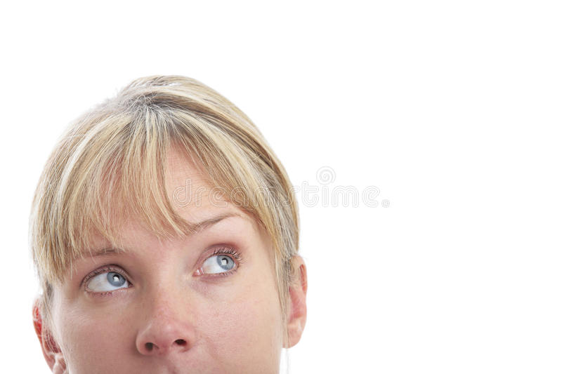 Surprised Woman Looking Up royalty free stock photo