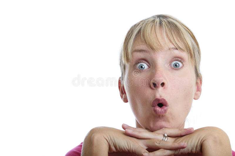 Surprised Woman Looking Up royalty free stock images