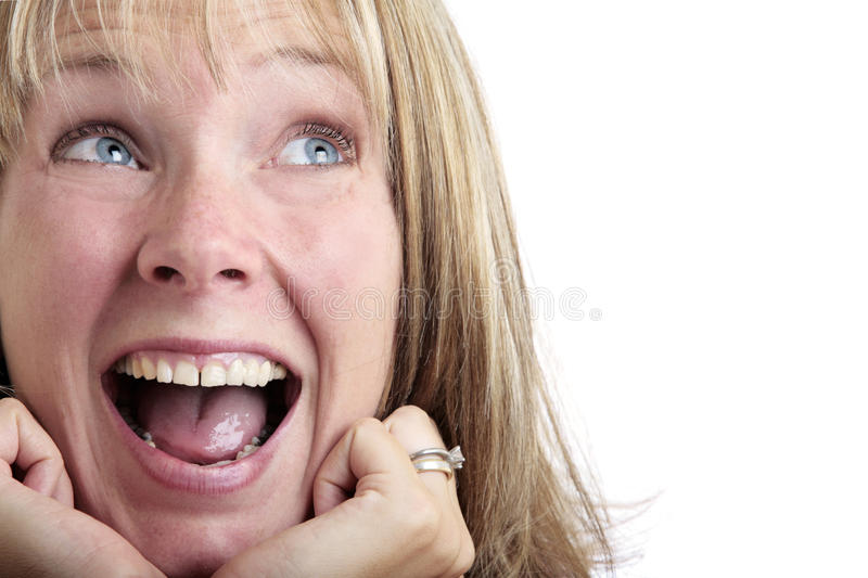 Surprised Woman Looking Up stock images