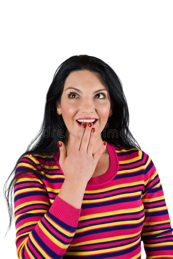 Download Surprised woman looking up stock photo. Image of blue - 9098074