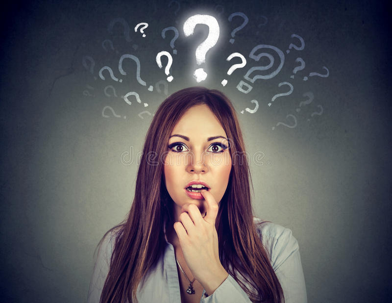 Surprised woman with many questions and no explanation or answer. Surprised amazed young woman with many questions and no explanation or answer stock photos