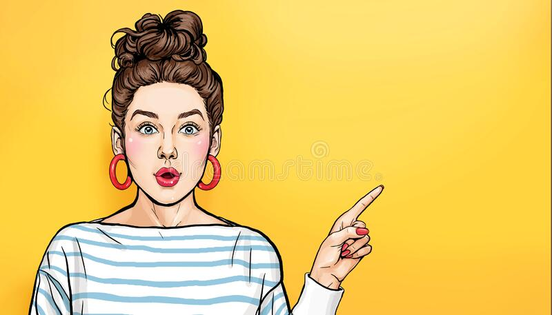 Surprised Woman showing product .Beautiful girl with curly hair pointing to on empty space . Presenting your product. Expressive f royalty free stock photos