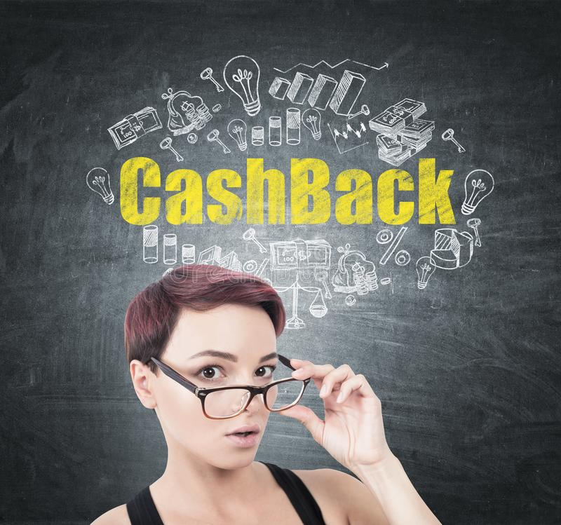 Surprised woman taking off glasses, cashback royalty free stock photo