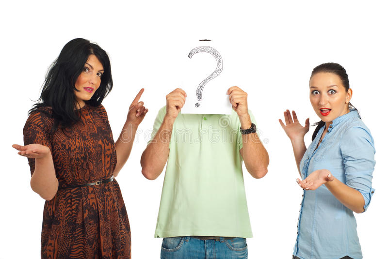 Surprised women with unknown guy royalty free stock images