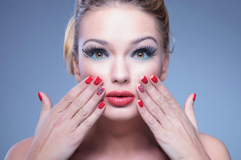 Download Surprised Young Beauty Woman With Fingers On Her Face Stock Image - Image: 35062679