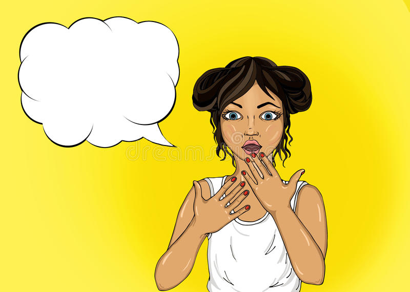 Surprised young girl covers her mouth with her hands. Beautiful vector illustration