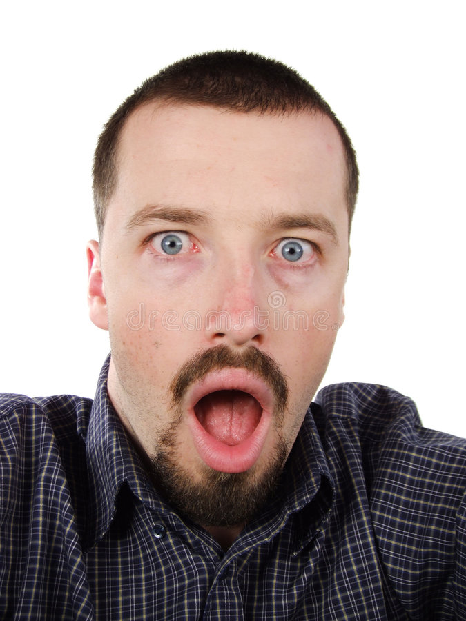 Surprised young man portrait royalty free stock photos
