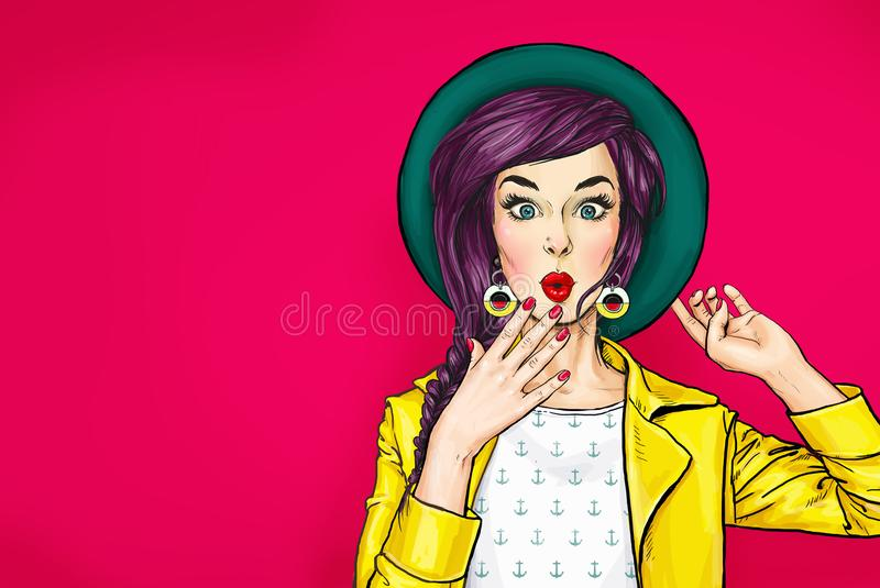 Surprised young woman in hat. Amazed girl with wow face vector illustration