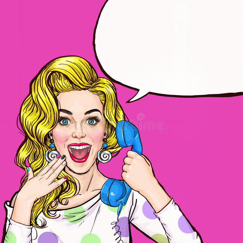 Surprised young woman shouting/yelling on retro telephone.Advertising poster.Comic woman.Gossip girl, red cheeks, curls, vector illustration