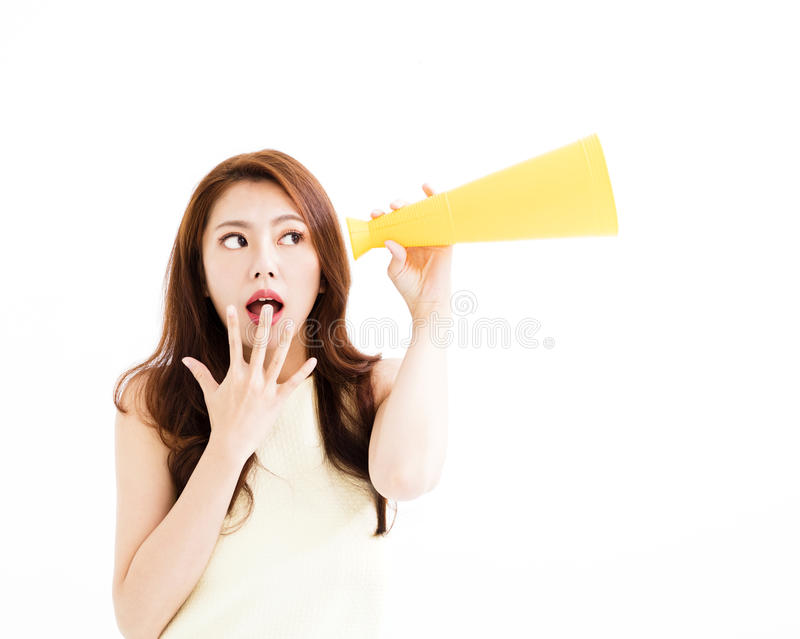 Surprised young woman listening to the gossip stock photo
