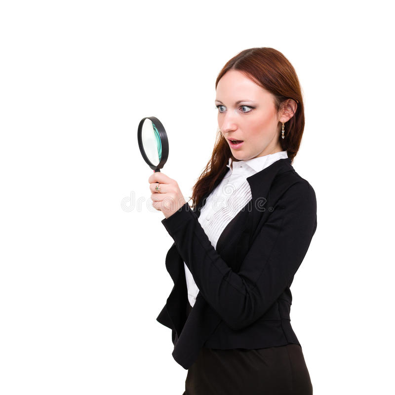 Download Surprised Young Woman With Magnifying Glass Royalty Free Stock Images - Image: 30067779