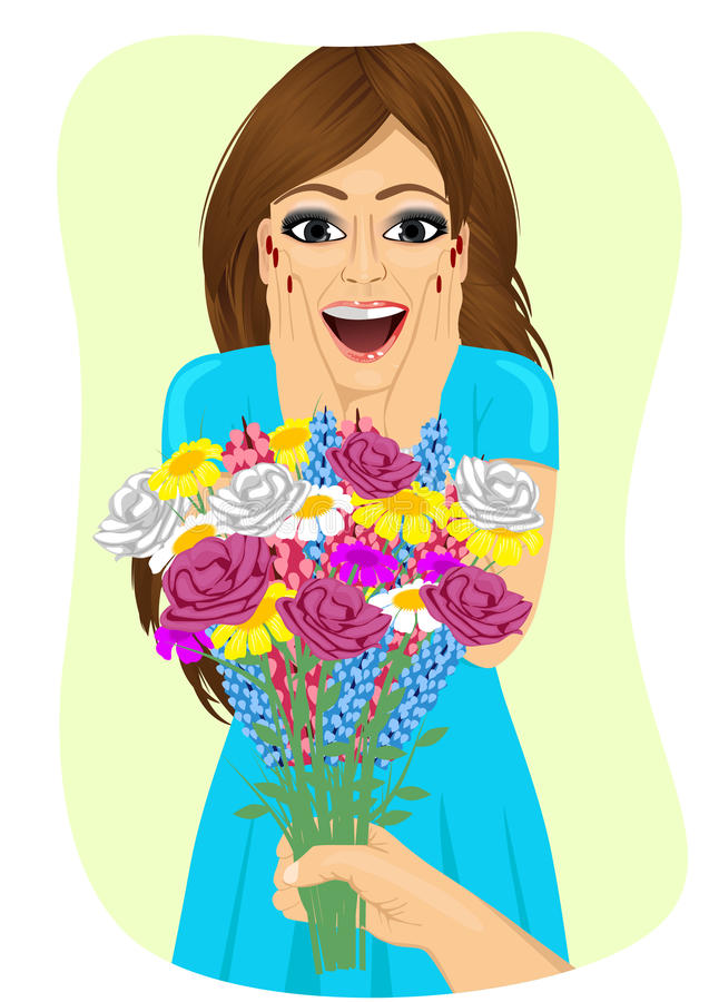 Surprised young woman receiving bouquet of wild flowers on a date from men's hand vector illustration